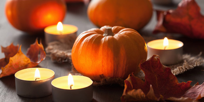 For the table, I like to have a few votive candles that I can add a touch of nutmeg and keep the seasonal aroma long after the meal is finished.